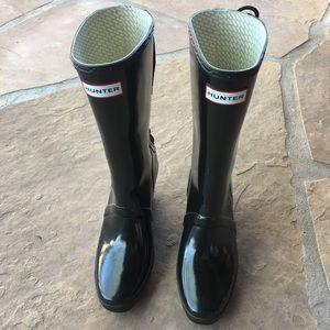 Hunter black platform boots size 8